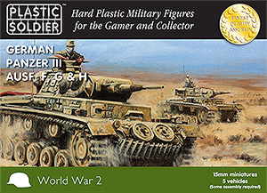15mm World War 2 German Panzer III Ausf F G H - 5 Vehicles