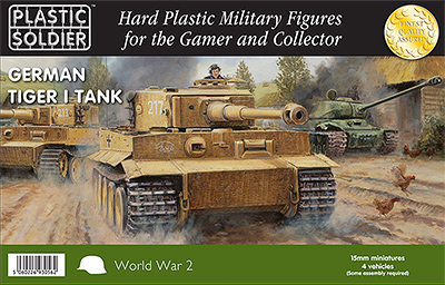 15mm World War 2 German Tiger I Tank - 4 Vehicles