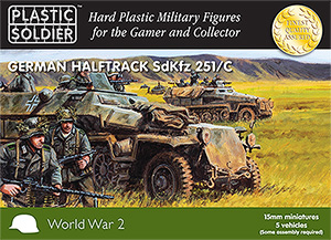 15mm World War 2 German Sdkfz 251/c halftrack - 5 vehicles